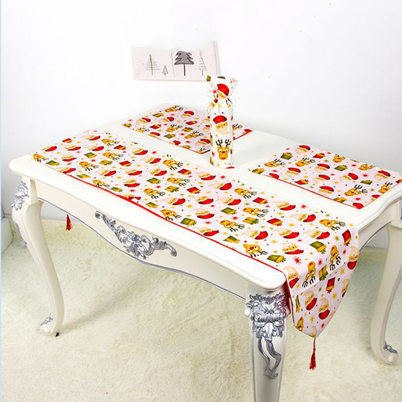 Table Runner With Maple Leaf Embroidery Cotton Table Flag For Christmas Birthday Party Banquets  66CY