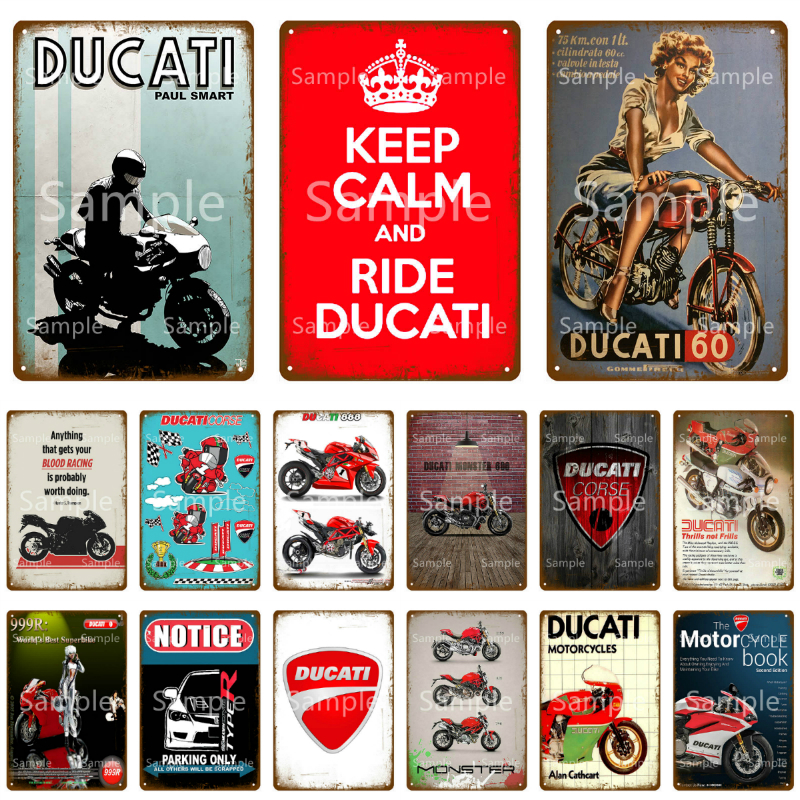 Металлическая табличка Ducati Corse, винтажная металлическая Жестяная Табличка, декоративная пластина для гаража, мотороллс, железный рисунок, н...