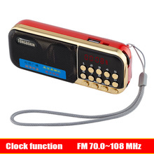 цена на With Clock Function FM 70~108MHz Mini Portable FM Radio Speaker TF USB MP3 Player 3.5mm Earphone Out 18650 Rechargeable Battery