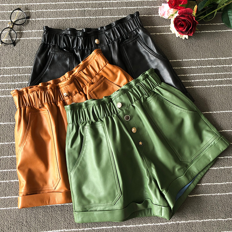 Women Brand New High Quality Real Leather Wide-leg Short Trousers Chic Women's Sheepskin Leather Loose Shorts A954