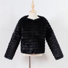 Baby Girls Autumn Winter Fur Coat Fashion Long Sleeve Solid Single-breasted Outwear High Quality Long Thicken Faux Fur Coat 2-9Y faux fur double breasted coat
