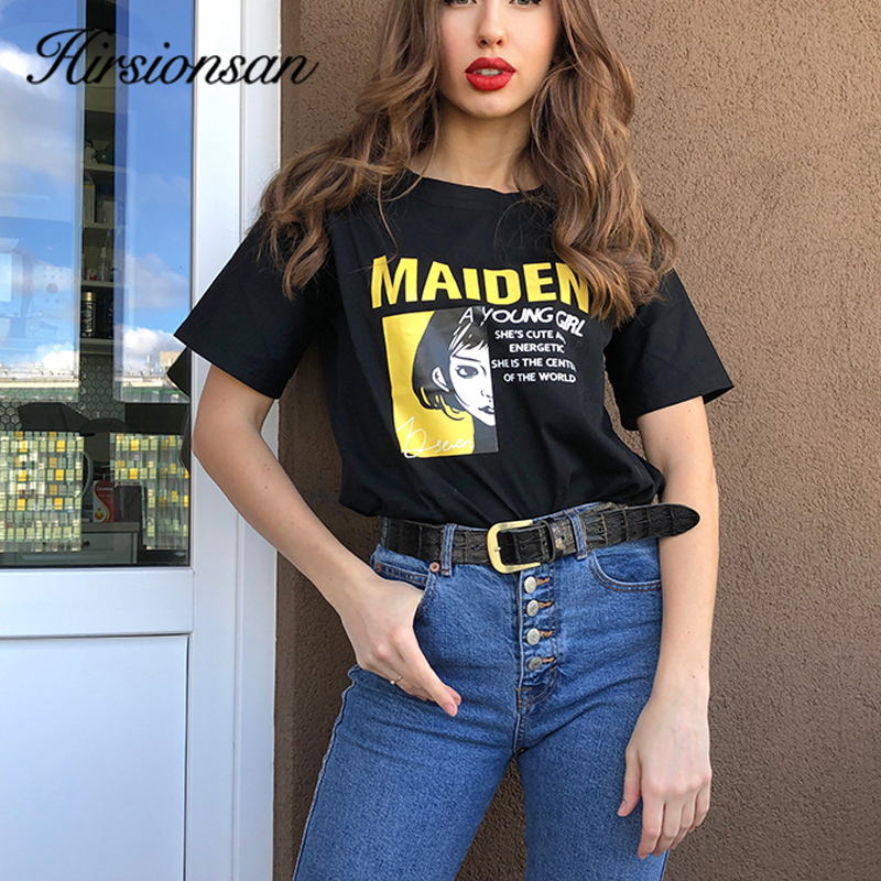 Hirsionsan T Shirt Women 100% Cotton Female Soft Clothes Oversized Jumper Cool Girl Casual Ins Letters 2020 Harajuku Chic Tees