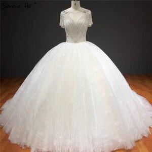 Image 1 - לבן קצר שרוולים Sparkle גבוהה סוף חתונת שמלות סקסיות ואגלי יהלומי יוקרה כלה שמלות HA2275 תפור לפי מידה
