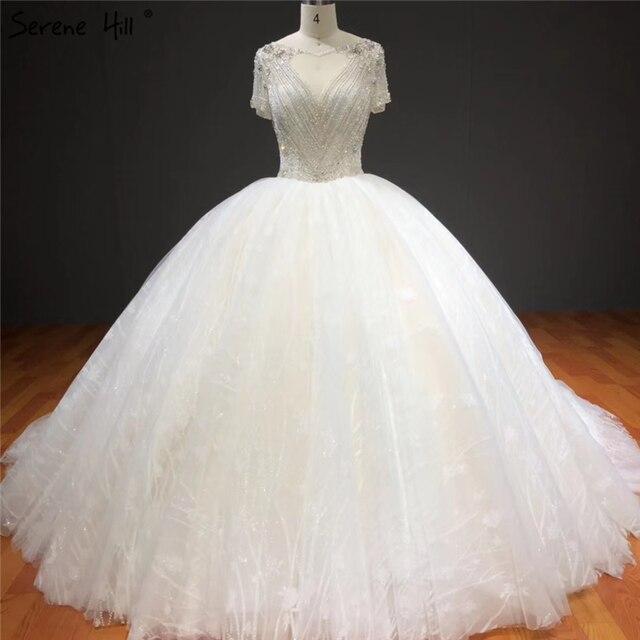 Vestidos de novia blancos de manga corta brillantes de gama alta con pedrería de diamante sexis vestidos de novia de lujo HA2275 hechos a medida