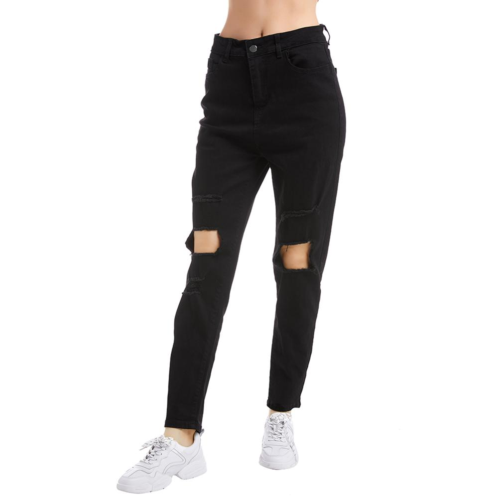 Women's Black High Waist Ripped Jeans Casual Straight Fashion Stretch Jeans Women's Autumn Pants