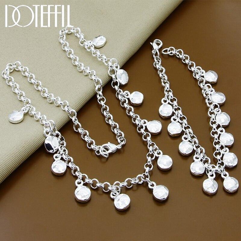DOTEFFIL-Conjunto de collar y pulsera de plata de ley 925 con cadena redonda, para mujeres
