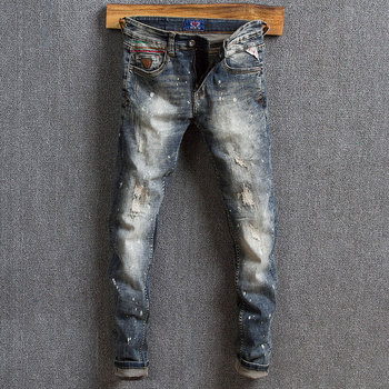 цена на Top Quality Vintage Hole Men Jeans Dark Color Straight jeans Casual Zipper Fly New Style Jeans Men Fashion Trousers For Pants