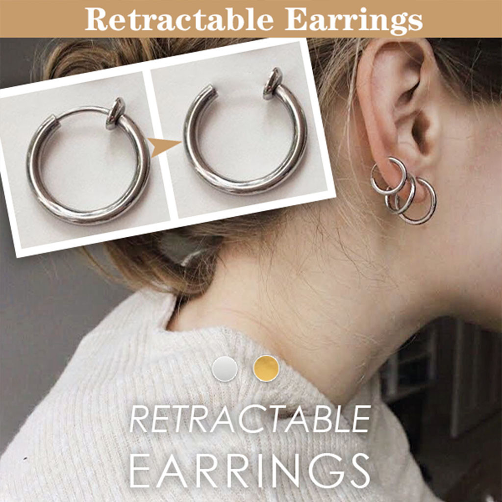 2pcs Clip On Body Nose Lip Ear Fake Retractable Earrings Segment