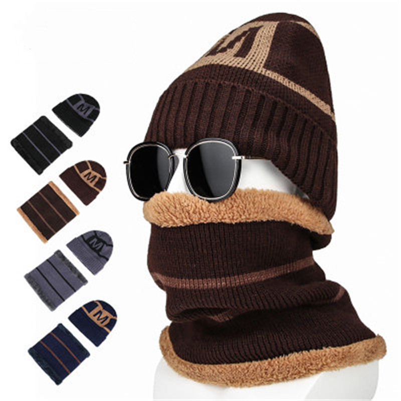 2019 Men Plush Winter Skullies Beanies Rings Sets Ventilate Elastic Letter Thick Neck Ear Warm Soft Hat Scarf Accessories-CGC-W7