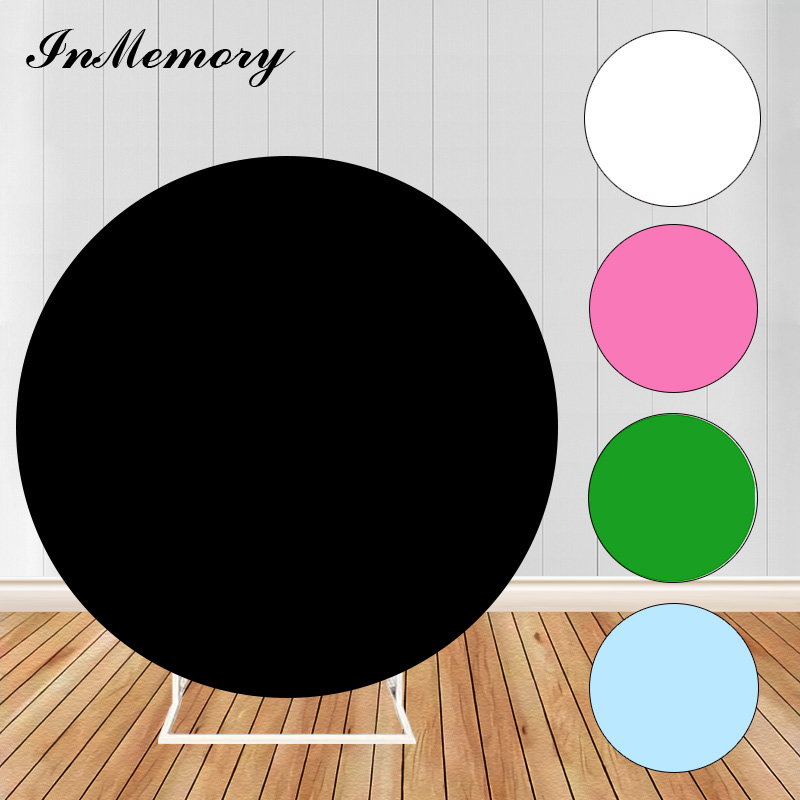 Sensfun Black Sold Color Round Circle Backdrop Portrait Adult Birthday Banner Birthday Party Photo Backgrounds Plinth Covers