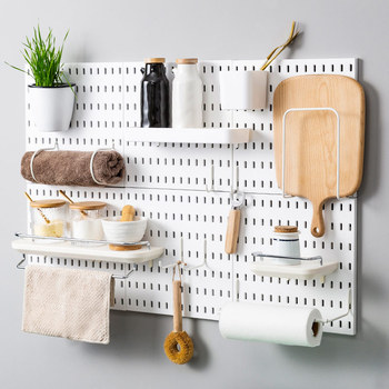 Punch-free Plastic Hole Plate Storage Rack Wall-Mounted Hanging Board Hook Kitchen Storage Shelf Holder Organizer Wall Decor недорого