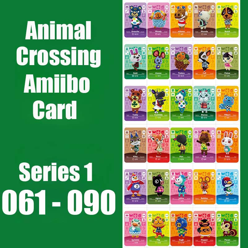 Series 1 (061 to 090) Animal Crossing <font><b>Card</b></font> <font><b>Amiibo</b></font> <font><b>Card</b></font> Work for NS 3DS Switch Game Animal Crossing <font><b>Amiibo</b></font> <font><b>Card</b></font> New Leaf image