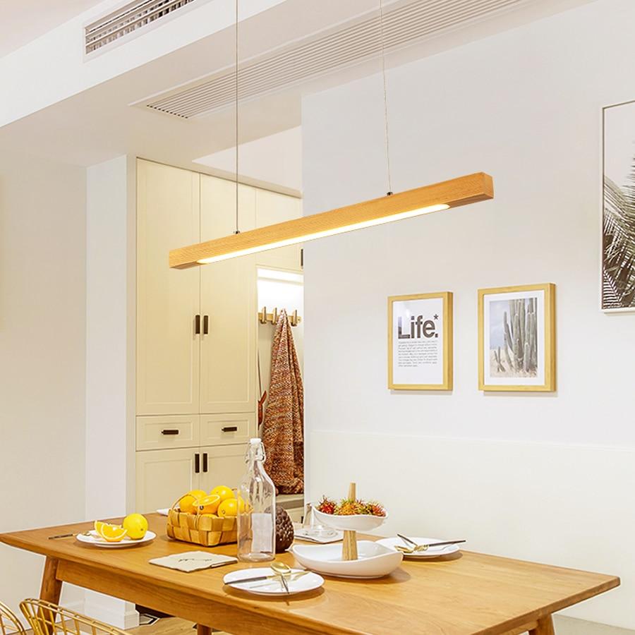 Bois pendentif LED lumière barre linéaire lampe suspendue horizontale 80cm 120cm salle à manger cuisine bureau luminaire Suspension lampe - 3