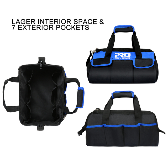 Waterproof Tool Bag with Bag Shoulder Strap Belt 18in  Electrician Portable Working Tools Storage Bags By PROSTORMER 4