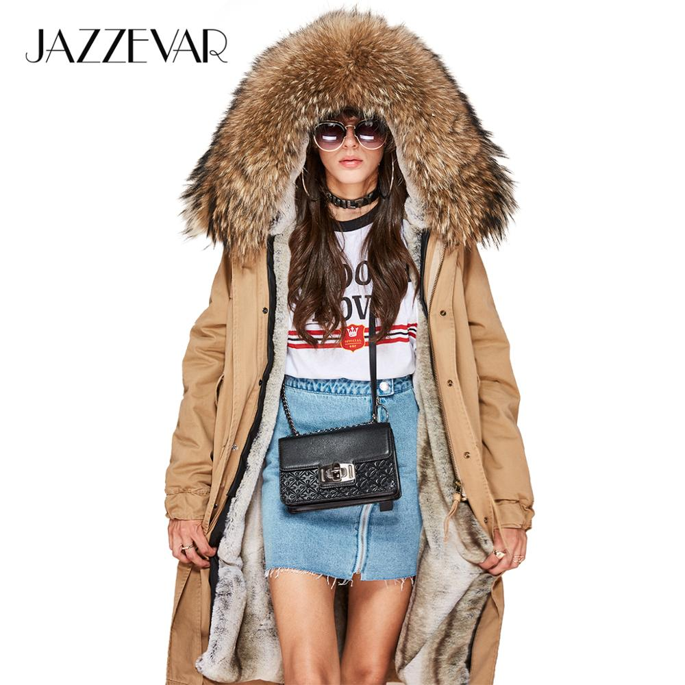 JAZZEVAR 2019 New high Fashion Women's X-Long parka large real racoon fur collar Hooded Coat Outwear Military Winter Jacket