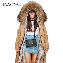 JAZZEVAR 2019 New high Fashion Women's X-Long parka large real racoon fur collar Hooded Coat Outwear Military Winter Jacket(China)