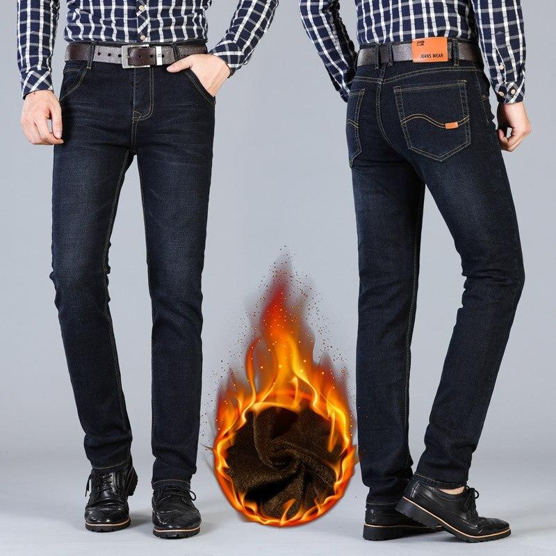 AIRGRACIAS Men Winter Thicken Fleece Jeans Stretch Denim Warm Jeans For Men Brand Long Pants Trouser Jean Black/Blue 28-44