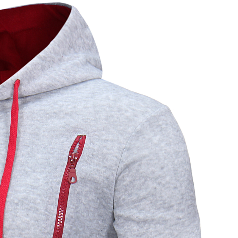 Classic Fashion Men Beveled zipper Hoodies Jacket Autumn and Winter Cotton Hooded Sweatshirts Solid Color Fashion Sport Jacket in Jackets from Men 39 s Clothing