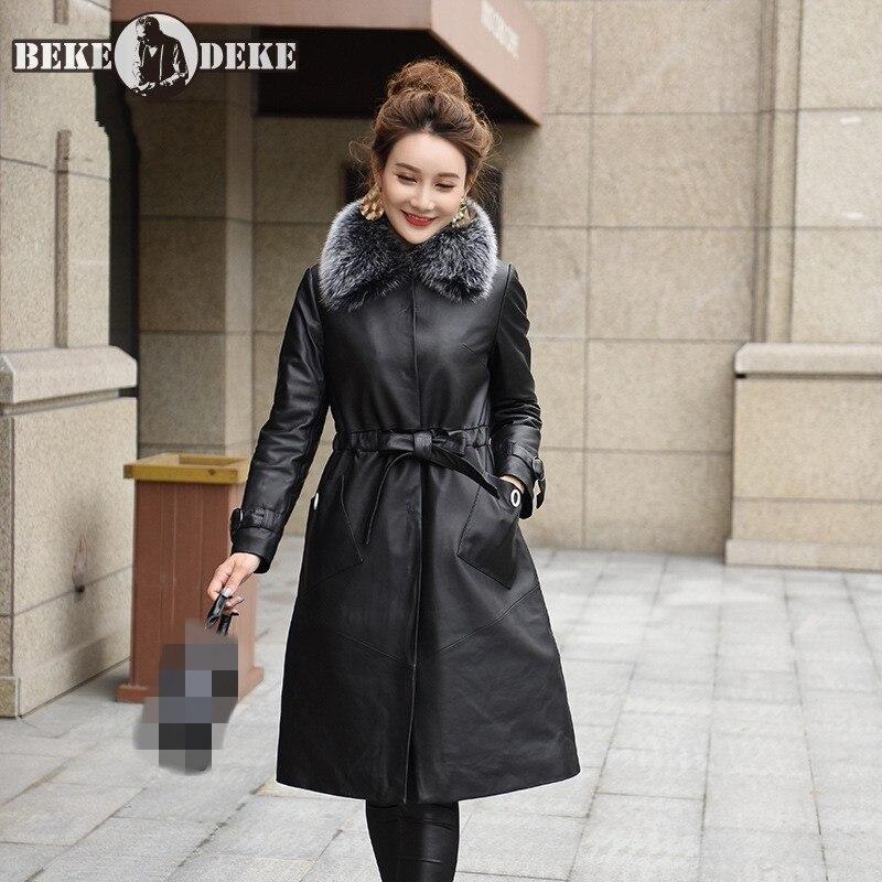 Winter OL Sheepskin Coat Women 2020 New Casual Slim Fit Long Jacket Elegant Army Green Pocket Belt Overcoat Lapel Outerwear