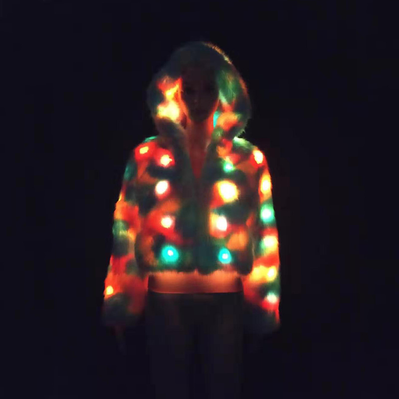 Cute Colorful Neon Light Up LED Cropped Faux Fur Jacket for Women Sexy Girls Rave Stage LED Crop Faux Fur Jackets Plus Size