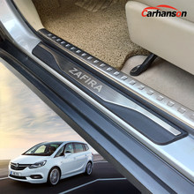 Stainless Steel Accessories For Opel Zafira Door Sill Strip Trim Car Sticker Scuff Plate Guard Protectors Auto Styling 2019 2016(China)