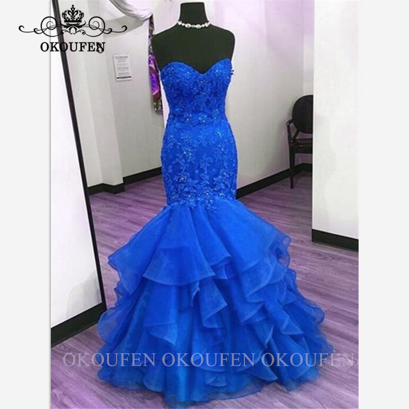 Royal Blue Mermaid   Evening     Dress   With Lace Appliques Top and Organza Skirt Women Long Prom   Dresses   Robe De Soiree
