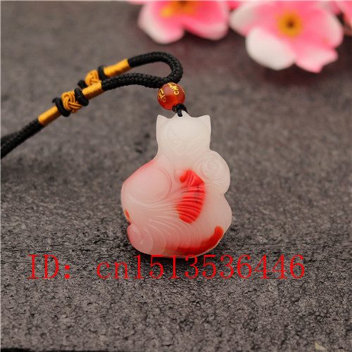 Chinese Red White Jade Fox Rose Pendant Jadeite Necklace Charm Jewellery Fashion Accessories Hand-Carved Amulet Gifts For Women