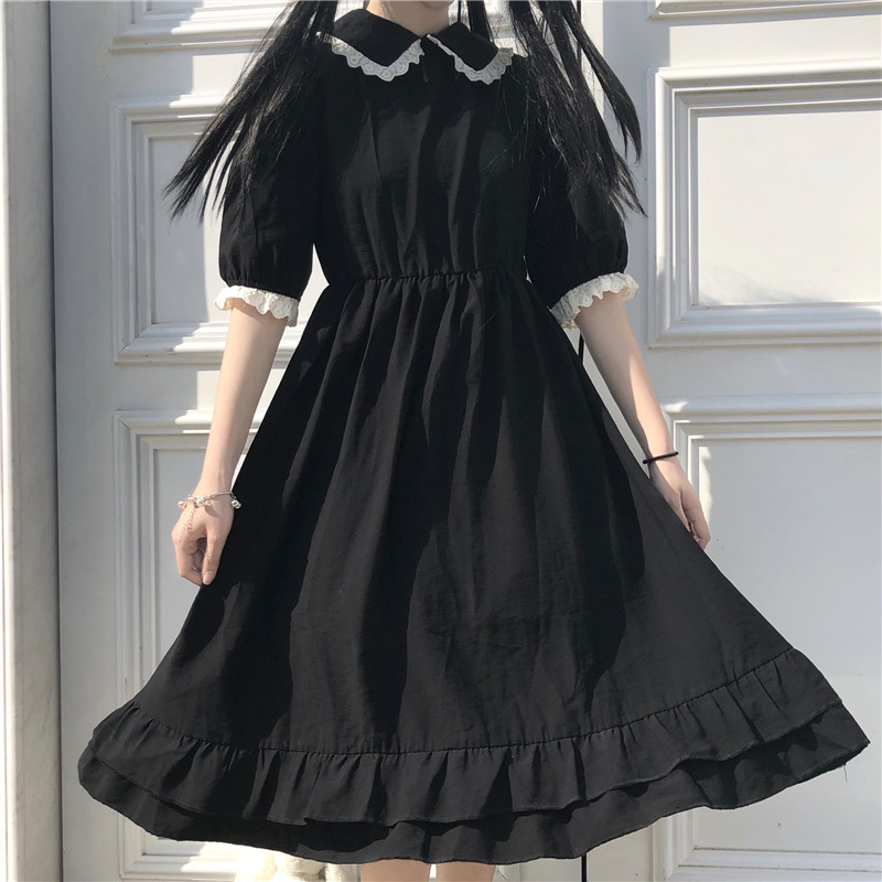 Japanese College Style Summer Dress Sweet Peter Pan Collar Kawaii Lace Ruffles Dress Short Sleeve Mori Girl Black Woman Dress