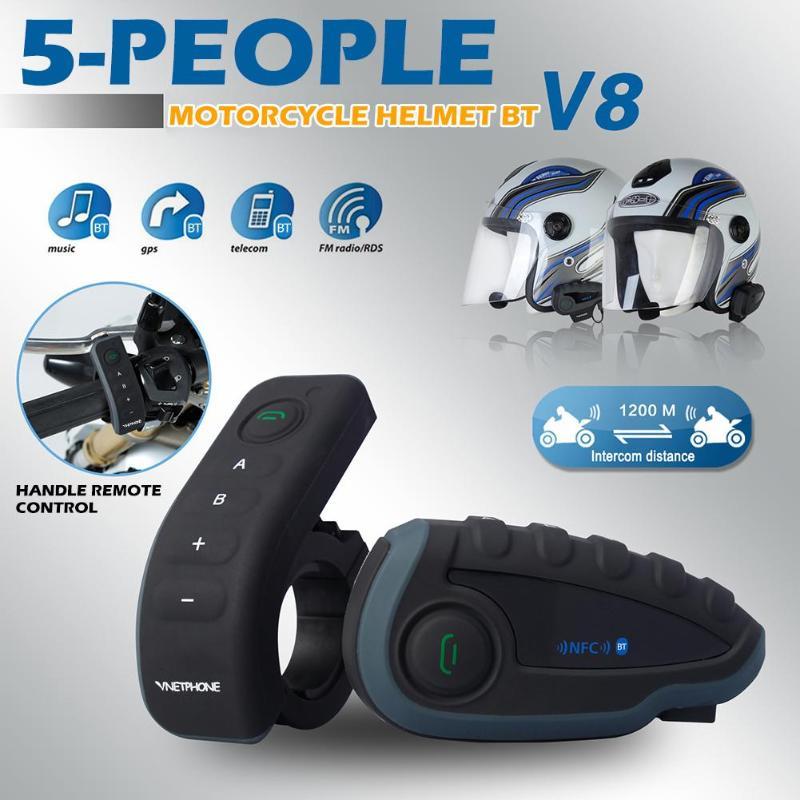 V8 Headset Headphone Motorcycle Intercom 5 Riders Helmet Bluetooth Remote Control Handle NFC Matches Mobile Phone FM Radio NFC