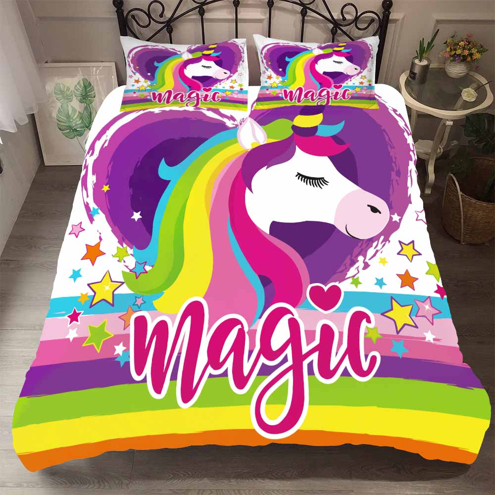 BEST.WENSD Pink Bedding Set Duvet Cover+pillowcase Magic Unicorns Kid Full Size Bed Set Unicorn Bedding Set For Bedroom 2/3 Pcs