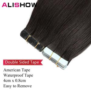 Image 4 - Alishow 18 inch Tape In Remy Human Hair Extensions Double Drawn Hair Straight Invisible Skin Weft PU Hair