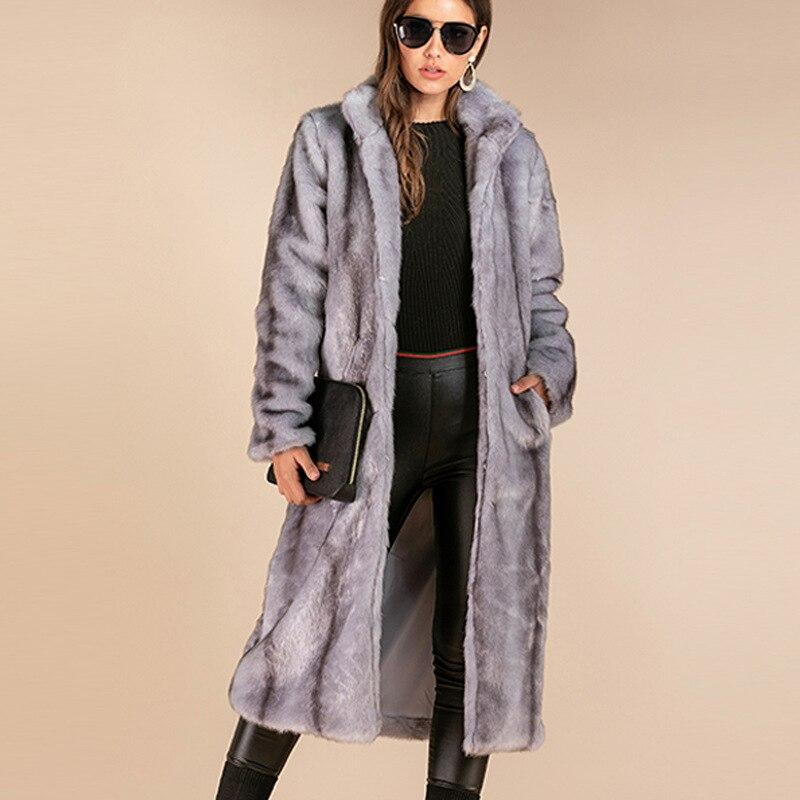 2019  Faux Fur Coat Mink Coat Keep Warm Fashion Vertical Collar Super Long Imitation Mink Fur Coat Coat Women