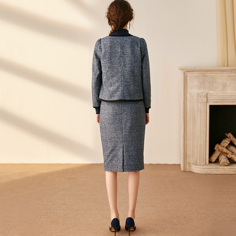Luo Yi temperament small fragrance suit autumn and winter new suit jacket Slim half skirt woolen two-piece suit