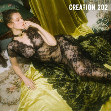 Creation 202 Women's Sexy Lace Long Skirt Perspective Sexy Love Nightdress Summer Sexy Women's Home Wear