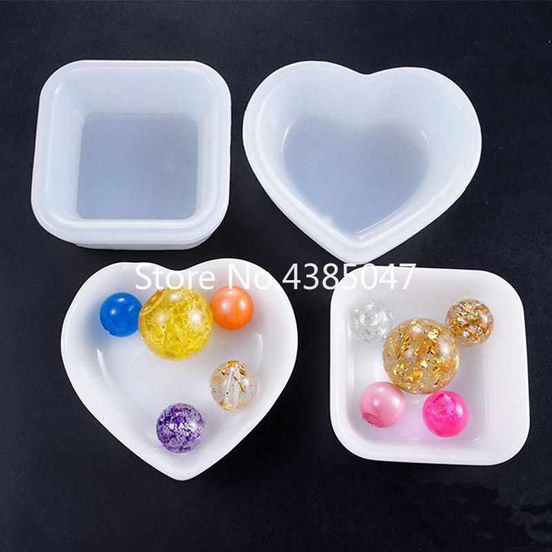 1PC Heart Square Plate Bowl UV Resin Jewelry Mold Silicone Handcraft Jewelry Tools Resin Accessories