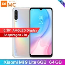 """Globale Versione Xiao mi mi 9 Lite 6.39 """"schermo AMOLED 6GB 64GB del TELEFONO Mobile Snapdragon 710 Octa Core in schermo di Impronte Digitali 48MP Macchina Fotografica"""