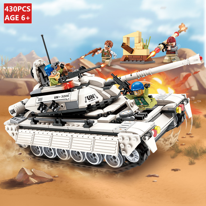 430Pcs Military Tank Building Blocks Sets Hero Army Panzer Weapon Gun RPG UN Force LegoINGs Technic DIY Bricks Toys For Children