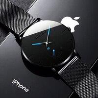 Reloj informal de cuarzo minimalista para hombres, cronógrafo de negocios con correa de malla de acero inoxidable, moda simple