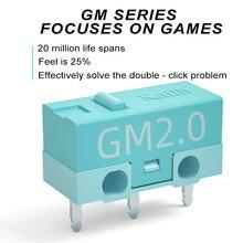 8 قطعة Kailh GM2.0 مايكرو التبديل 20 متر الحياة الألعاب ماوس مايكرو التبديل 3 دبوس الأزرق المستخدمة على الفئران الكمبيوتر زر اليسار الأيمن