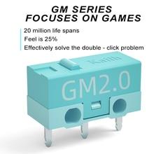 8 sztuk Kailh GM2.0 mikro przełącznik 20M życie mysz do gier mikro przełącznik 3 Pin niebieski używany na myszy komputerowe lewego prawego przycisku