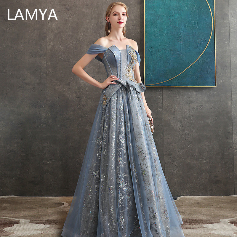 LAMYA Elegant Spaghetti Straps Evening Dresses Long Luxury Formal Party Prom Gowns Sequined Evening Dress Robe De Soiree