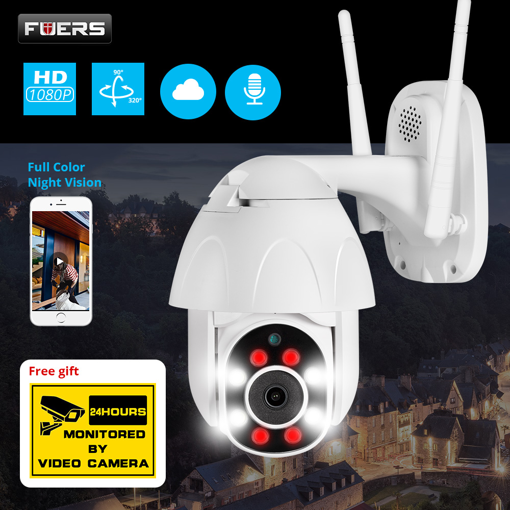 FUERS 1080P Outdoor Camera PTZ IP Camera Security Speed Dome CCTV Surveillance WIFI Cloud Storage Night Vision Motion Detection title=
