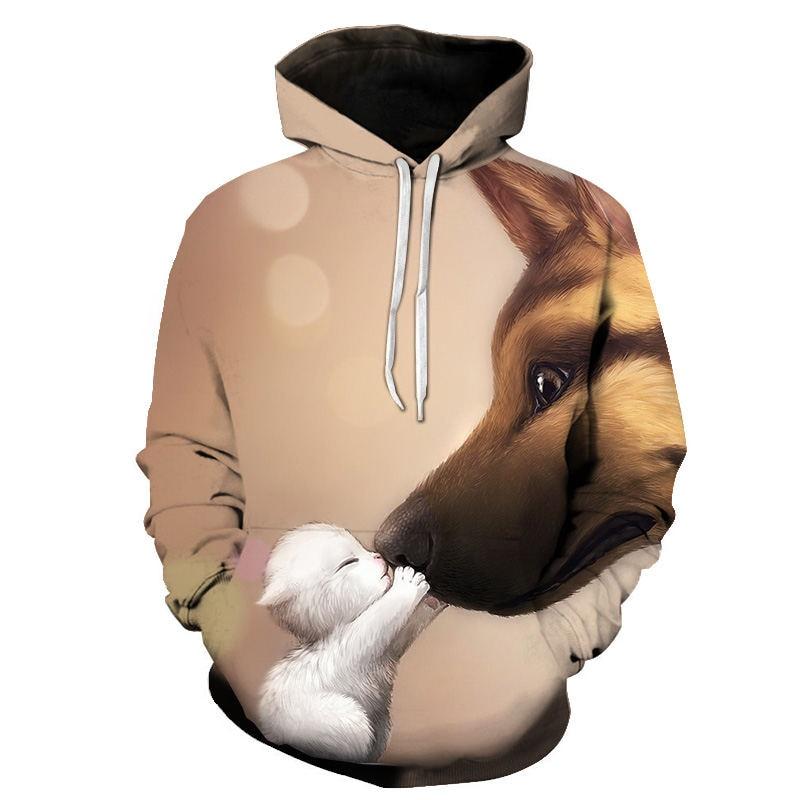 Women's Two Cat Sweatshirts Long Sleeve 3D Hoodies Sweatshirt Pullover Tops Blouse Pullover Hoodie Poleron mujer Confidante Tops 61