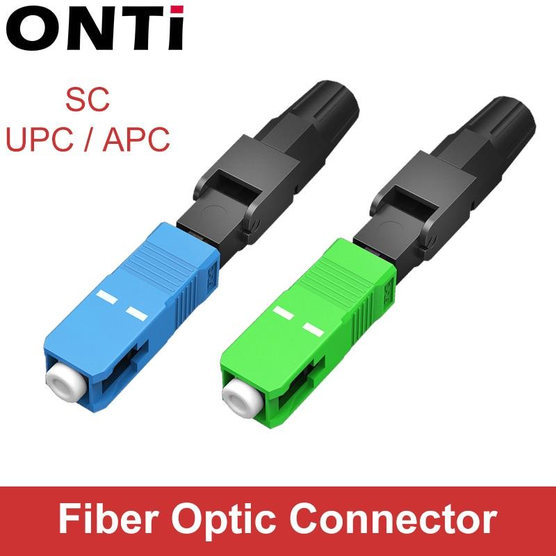 ONTi 200PCS  SC APC SC UPC Fiber Optic Fast Connector Single Mode FTTH Fiber Optic Quick Connector SC Fiber Field Assembly
