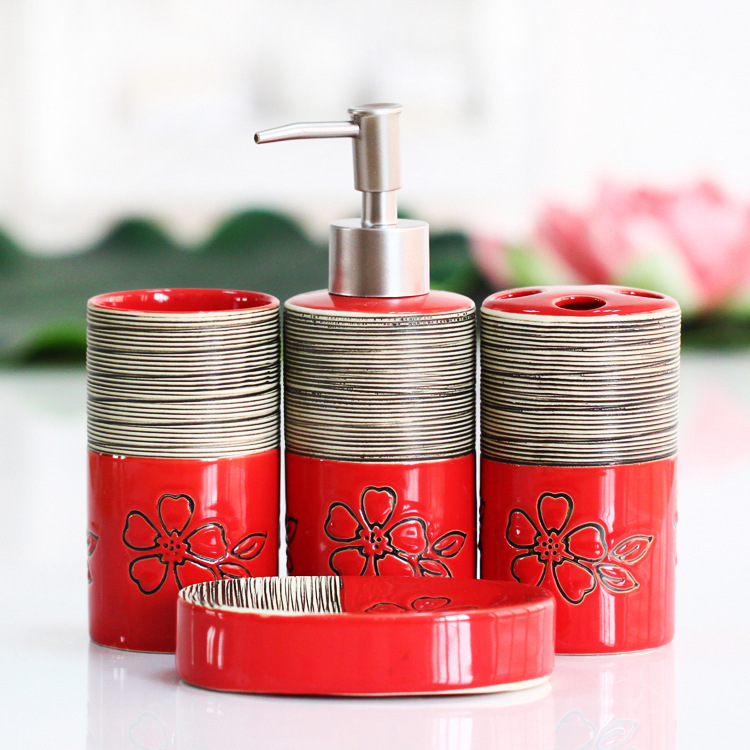 bathroom accessorie set Red soap dispenser toothbrush holder 4-piece set ceramic toothpaste holder soap box bathroom home gift image