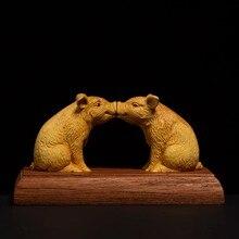Cerdo del zodiaco boxwood, beso de cerdos, hogar, madera maciza, creativo, feng shui de la suerte, oficina, tallado, artesanía,