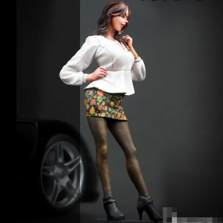 Figuras de soldados de resina de 75mm,1/24, kits de modelo de coche para mujer, modelo sin pintar R292