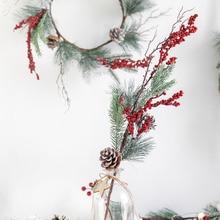 Autumn Wreath Artificial Rattan Cotton Garland Door Decoration Supplies Bow Christmas Wreath Decorations ghirlanda natale