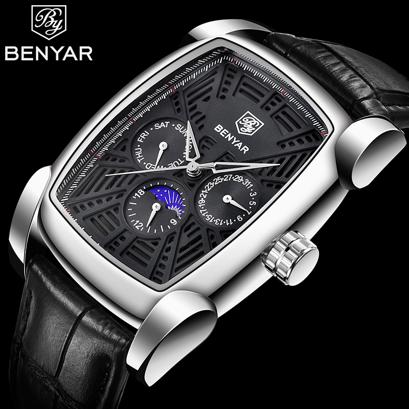 Sports Watches Male Clock Quartz-Date Business Top-Brand Waterproof Benyar Luxury Casual