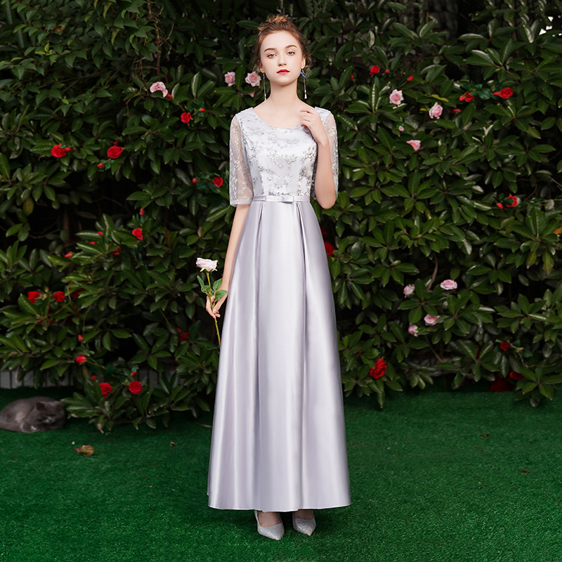 Maid Of Honor Dresses For Weddings Guest Elegant Long Dress For Wedding Party Gray Bridesmaid Dresses Sister Sexy Prom Vestido